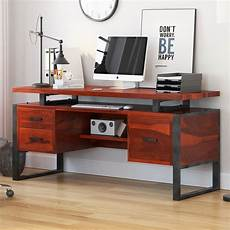 home office computer furniture hondah solid wood 64 quot large industrial home office