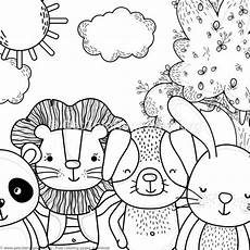 panda and bunny forest animals coloring pages
