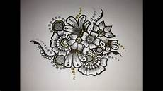 mehndi drawing flower motif 1