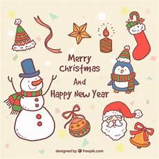 gezeichnet weihnachten und neujahr illustrationen