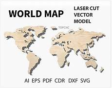 world map laser cut file world map vector digital