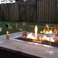 gartentisch mit feuerstelle glassumrandung 80 x 30 cm terras co