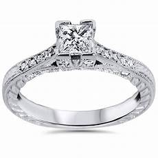 1ct princess cut vintage engagement ring 14k white 1ct princess cut vintage diamond engagement ring accent 14k white gold ebay