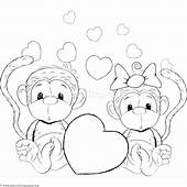 Cartoon Animal Romantic Couple In Love Cute Monkeys