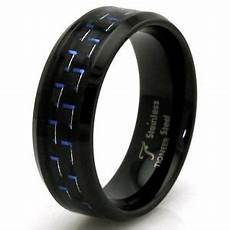 stainless steel blue carbon fiber personalized black mens wedding band ring 8mm ebay