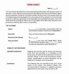 free 16 sle term sheet templates in pdf word