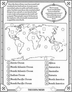 find the oceans and continents page free printable elementary social studies homeschooling