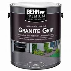 behr 1 gal 65001 gray granite grip interior exterior concrete paint 65001 the home depot