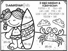 3 digit addition and subtraction number summer themed by createdbymarloj