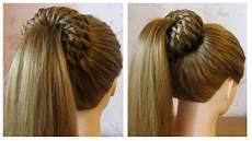 tuto coiffure simple queue de cheval et chignon bun
