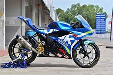 Modifikasi Gsx R150 by Modifikasi Suzuki Gsx R150 Biru Simple Untuk Balap