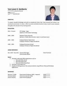 resume sle for ojt it students sle resume for ojt