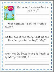 the lorax reading comprehension worksheet read the lorax by dr seuss think about the story