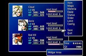 Image result for FF7 Menu