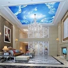 flower wallpaper ceiling beibehang photo large clouds 3d interior ceiling in the