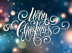 merry christmas handwriting script lettering christmas greeting background with bokeh vector