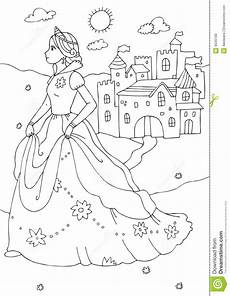 princess and castle coloring page royalty free stock