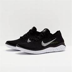nike free run flyknit 2018 black white mens shoes