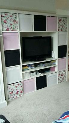 ikea expedit kallax cube tv unit storage with all boxes