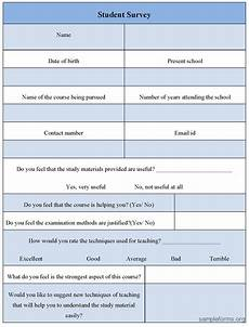 student survey form sle forms