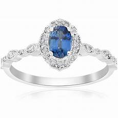 blue sapphire vintage halo diamond engagement 3 4ct ring 14k white gold ebay