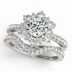 diamond curved wedding band fits snowflake engagement