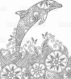 coloring page with one jumping dolphin in the sea 일러스트