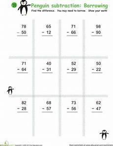 subtraction worksheets for grade 2 with borrowing 10382 subtraction with borrowing honeybees worksheet education