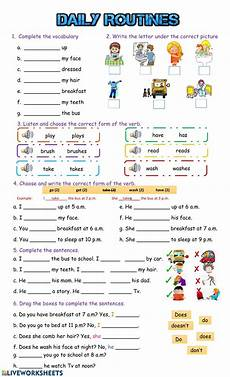 daily routines and pdf worksheet