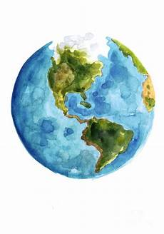 earth america watercolor poster painting by joanna szmerdt