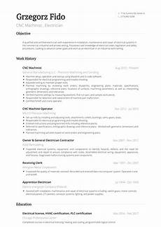 cnc machinist resume sles and templates visualcv