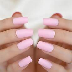 24pcs light pink matte pre designed nail simple design