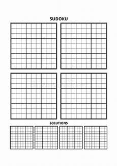 sudoku template four grids with solutions on a4 or letter