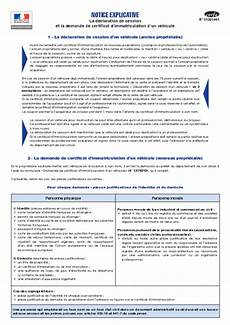 telecharger certificat d immatriculation notice explicative la d 233 claration de cession et la demande