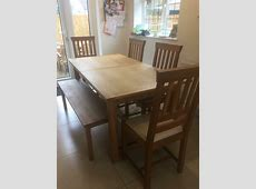 Laura Ashley solid oak Milton dining table, bench and