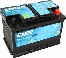Autobatterie Exide Ek700 Agm Start Stop 12v 70ah 760a