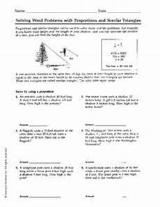 similar figures word problems worksheet solving word problems with proportions and similar triangles 6th 7th grade worksheet lesson