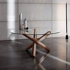pieds de table design mesa comedor circular madera cubierta cristal 140 cm