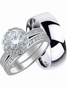 his and hers wedding ring set sterling silver titanium wedding bands for him her 11 7 walmart com