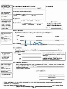 form cv 460 notice and order for name change hearing wisconsin forms laws com