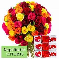 Bouquet De Roses Quot 70 Roses Multicolores Napolitains