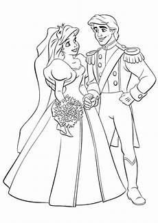 Malvorlage Prinzessin Hochzeit Arielle Die Meerjungfrau Mit Prince 1 Ausmalbilder