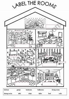 worksheets rooms 19037 label the rooms esl worksheet by arwood