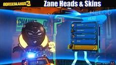 best heads borderlands 3 zane cosmetics guide all heads skins customizations