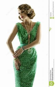 woman fashion retro beauty portrait in sparkle sequin dress image 43929030