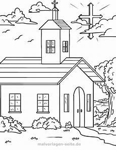 malvorlage religion kirche und kreuz kostenlose