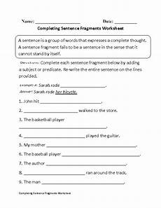 writing complete sentences worksheets 22136 sentence fragments worksheets completing sentence fragments worksheet
