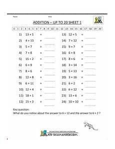 addition worksheets grade 2 mental addition to 20 1 kindergarten math worksheets mental maths