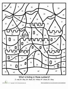 color by number worksheets 1st grade 16057 color by number sand castle projects coloring for castle crafts worksheets for