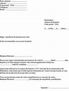 Mod 232 Le Type Lettre Annulation Promesse De Vente D Un Bien